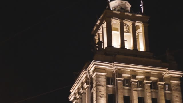 Tower in the night architectural style neoclassicism facade empire cityscape Tower in the night architectural style neoclassicism facade empire cityscape travel neoclassical architecture stock videos & royalty-free footage