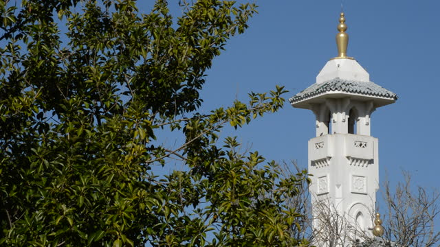 Tower minaret with yamur of a arab mosque a sunny day