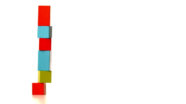Tower of building blocks falling over video
