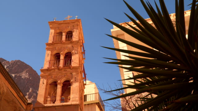 Tower on a background of mountains in the Monastery of St. Catherine video