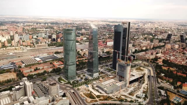 towers of the business district in Madrid Four towers of the business district in Madrid. Spain sorpresa stock videos & royalty-free footage