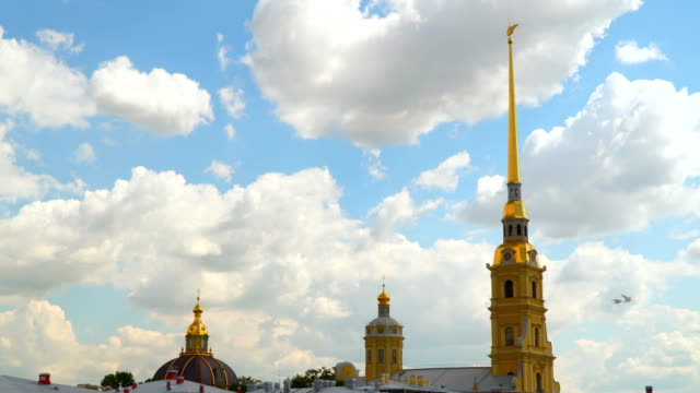 Towers of the Peter and Paul Fortress against a background of white clouds video