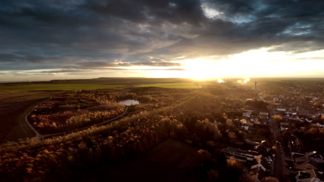 AERIAL : Town at Sunrise video