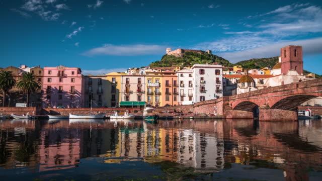 town bosa in sardina, italy - sardegna video stock e b–roll