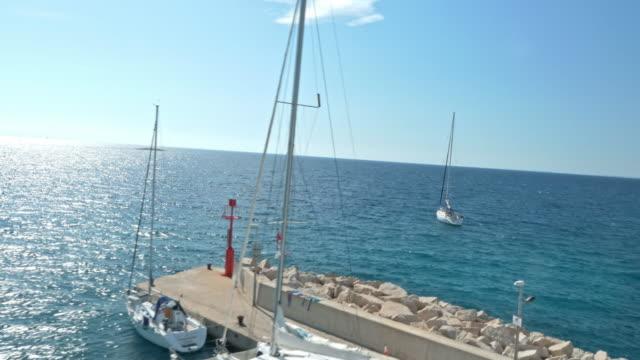 AERIAL Town by the Mediterranean sea video