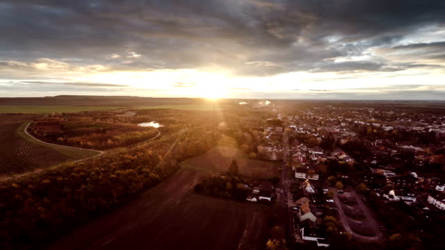 AERIAL: Town in sunrise light - Germany video
