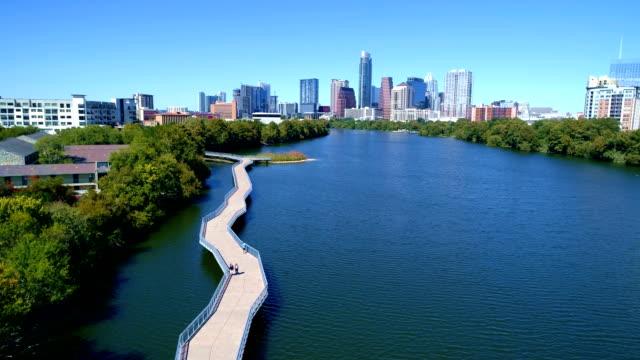 Town Lake Riverside Pedestrian Bridge Sunny Days in Austin Texas video