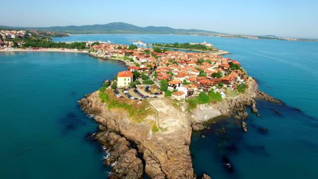 4k town of sozopol, aerial view, bulgaria - bułgaria filmów i materiałów b-roll