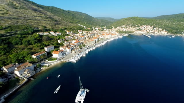 AERIAL Town on the island Vis video