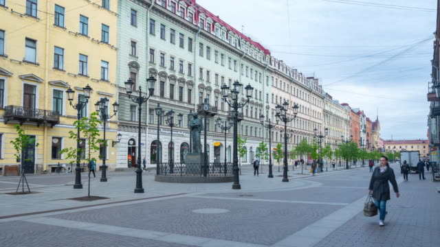 town square opposite kazan cathedral, st. petersburg, russia video