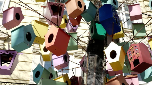 Town street tree full of fancy colorful lanterns, decorated as birdhouses, swinging at wind video