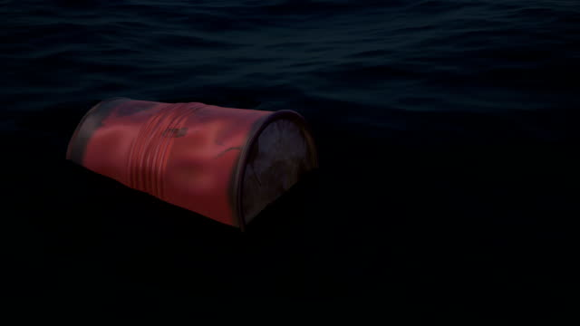 Toxic waste barrel swims in the water.