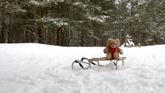 Toy bear laying down on the sled in winter park