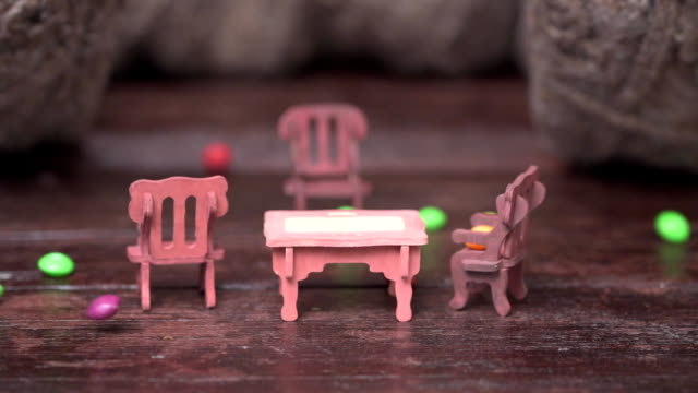 Toy furniture and candy rain video