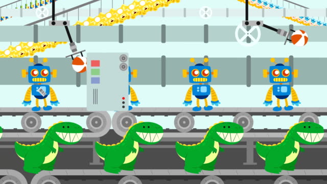 Toys Factory in Cartoon Style Toys Factory in Cartoon Style doll stock videos & royalty-free footage