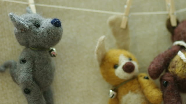 Toys hanging on a clothesline. video