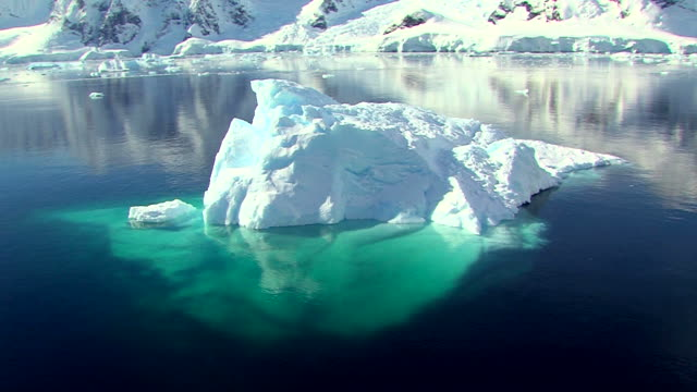 track past an iceberg in antarctica