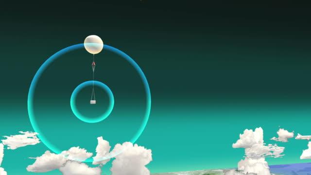 vídeos de stock, filmes e b-roll de rastreando um balão meteorológico – transmissor e o receptor 3d. - meteorologia