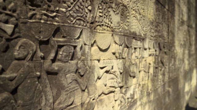 Tracking Bas-Relief Artwork on a Wall at Bayon Temple in Angkor Thom Siem Reap, Cambodia