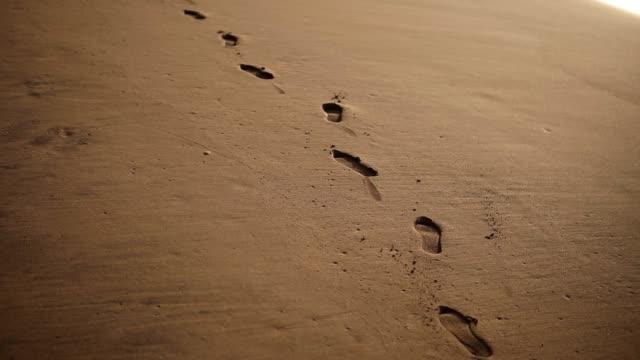 vídeos de stock, filmes e b-roll de rastreando imagens de close-up de pegadas na areia dourada molhada na praia - areia