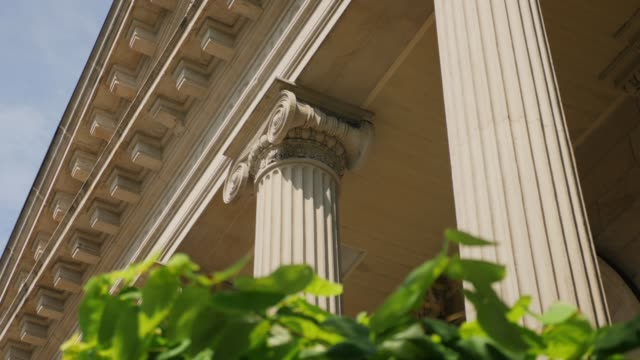 Tracking Dolly Shot of Roman Columns on a Pittsburgh Building video