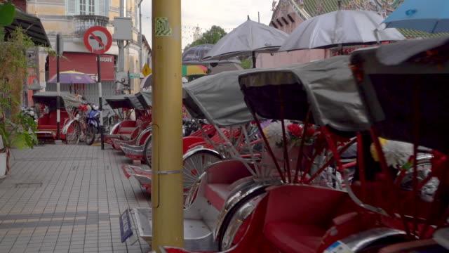 Tracking in shot of Bicycle Rickshaw