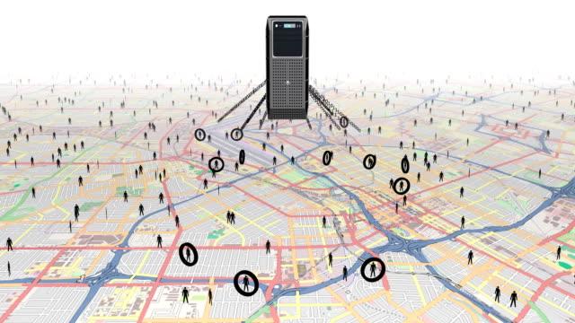 Rolamento em pessoas com digital de vigilância. - vídeo