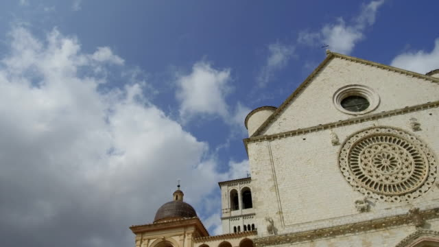tracking shot at basilica with rosette window, Assisi video