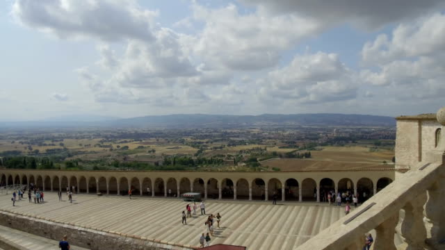 tracking shot cathedral from above, Assisi video