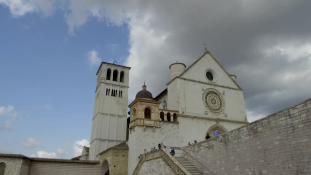 tracking shot of a bell tower in downtown, Assisi video