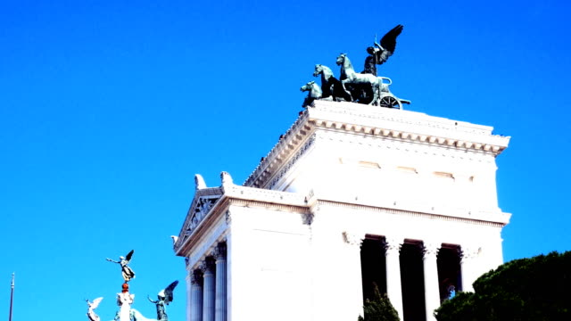 tracking shot on Vittoriano's monument from behind, Piazza Venezia, Rome video