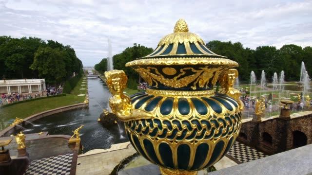 Tracking shot showing fountains Grand Palace park Peterhof, Saint Petersburg, Russia