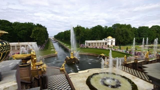 Tracking shot showing vase at the Grand Palace park Peterhof, Saint Petersburg, Russia