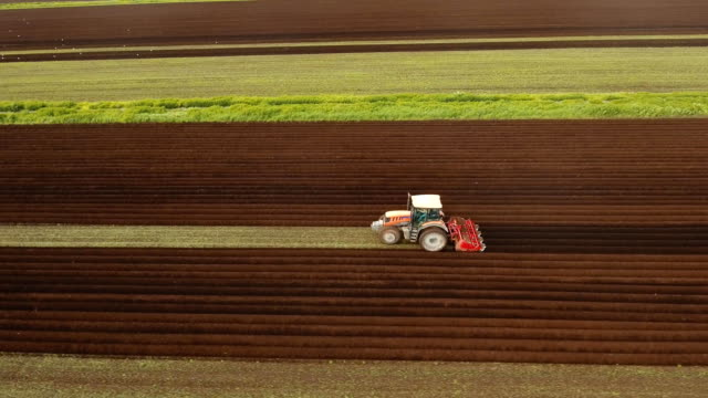 Tractor cultivates the land in the field video