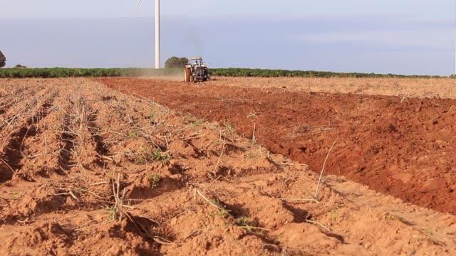 traktör yetiştirilmesi arazi tohum için. - start stok videoları ve detay görüntü çekimi