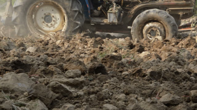 HD : tractor plowing the soil for cultivation