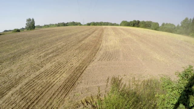 Tractor sowing in  soil on sunny day, time lapse 4K Tractor sowing in the field of clay soil on sunny day, time lapse 4K harrow agricultural equipment stock videos & royalty-free footage