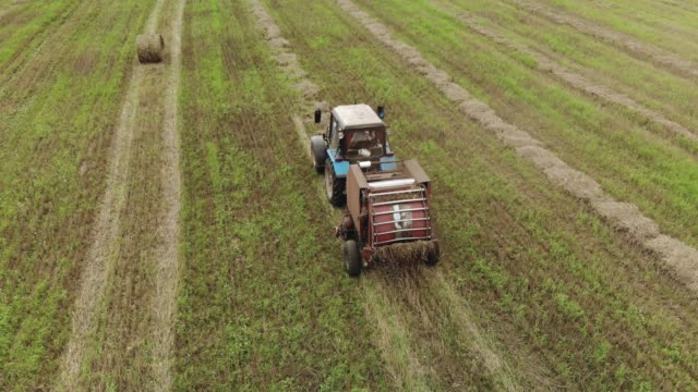 vídeos de stock e filmes b-roll de a tractor with a trailed baler, producing baling of straw on a harvested agricultural field - desperdício alimentar