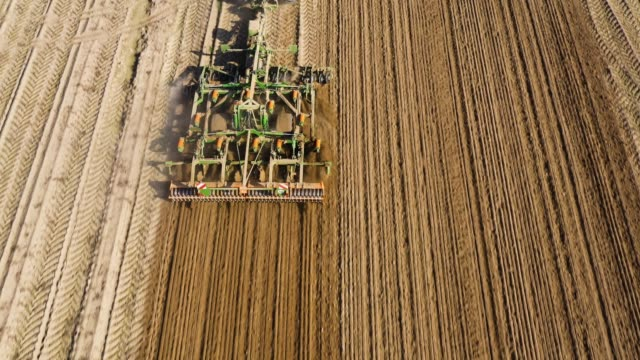 Tractor with disc harrow on an agricultural field Farmer on a tractor with a disc harrow, a plow cultivates the land after harvesting potatoes. harrow agricultural equipment stock videos & royalty-free footage