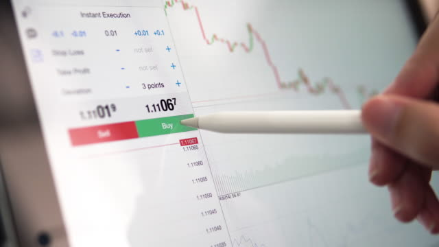Trader using tablet for Stock Market Data business.