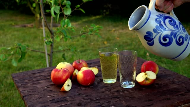 traditional apple wine in the city of frankfurt in hesse. a jug of wine is on an old wooden table in the garden, around it are apples - decanter video stock e b–roll