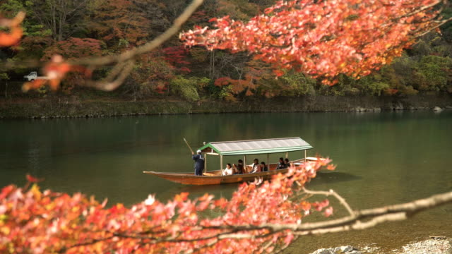 vídeos de stock e filmes b-roll de traditional boat in katsura river amid autumn leaf forest at arashiyama - prefeitura de quioto
