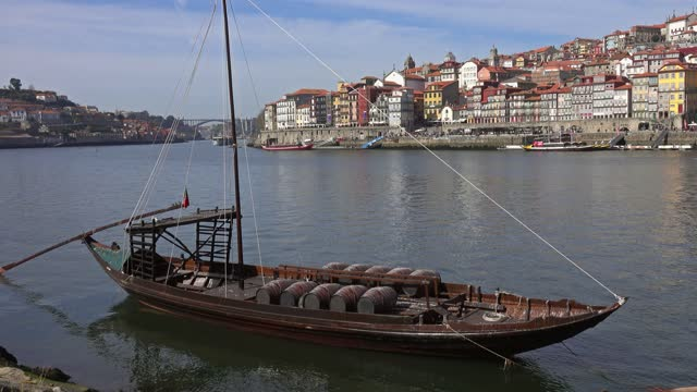 Traditional boat with barrels on Douro river