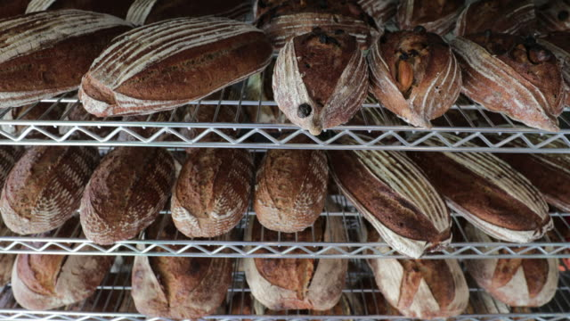 Traditional breads stacked together on shelf at bakery