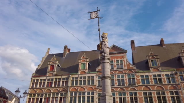 Traditional Buildings and Flemish Lion Column in Sint-Veerleplein Square in the old town of Ghent, Belgium