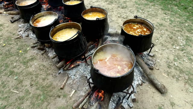Traditional cauldron on wood fire coocking. Stew is made of meat, peppers, tomatoes. Water was added. A man is mixing meat in pot with a wooden spoon video