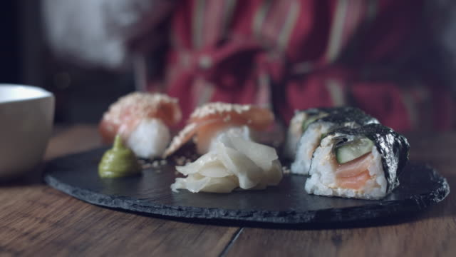 4K Traditional Chef Pouring Soya Sauce for Sushi video