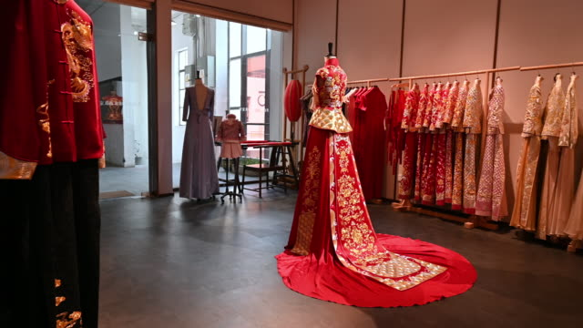Traditional Chinese bridal dress at design studio