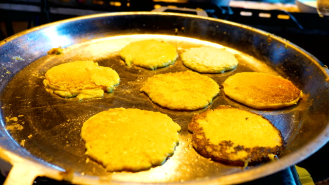 Traditional Chinese Fried Pancake in Street Food Festival, Chaing Rai Province, Thailand video