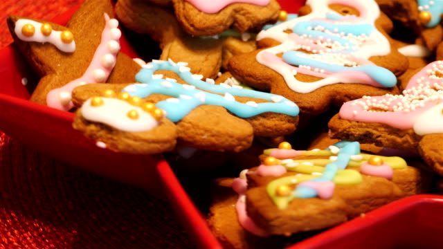 Traditional Christmas cookies in motion 4K video